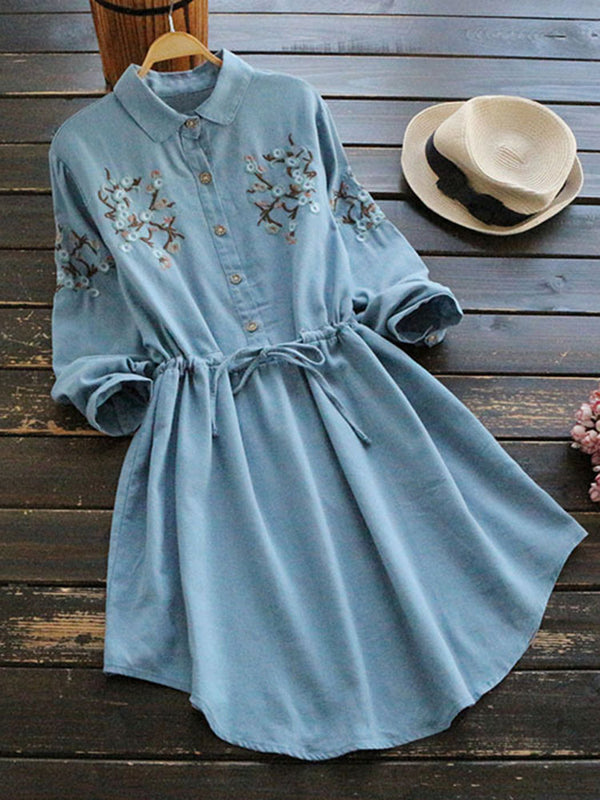 Women Vintage Embroidered Drawstring Long Sleeve Dresses
