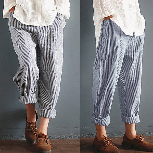 Unisex Casual Stripe Pants Long Pants Leisure Trousers Plus size