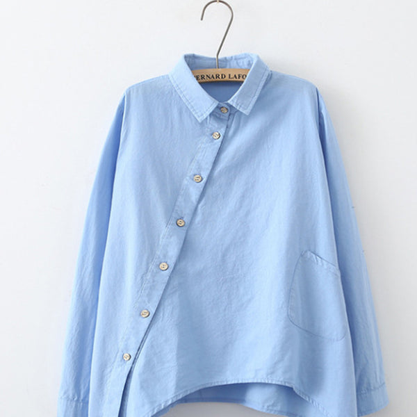Loose National Wind Oblique Placket Asymmetry Shirt