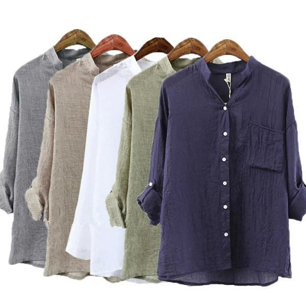Vintage Mori Girl Women V Neck Long Sleeve Cotton Linen Shirts Loose Top Blouse