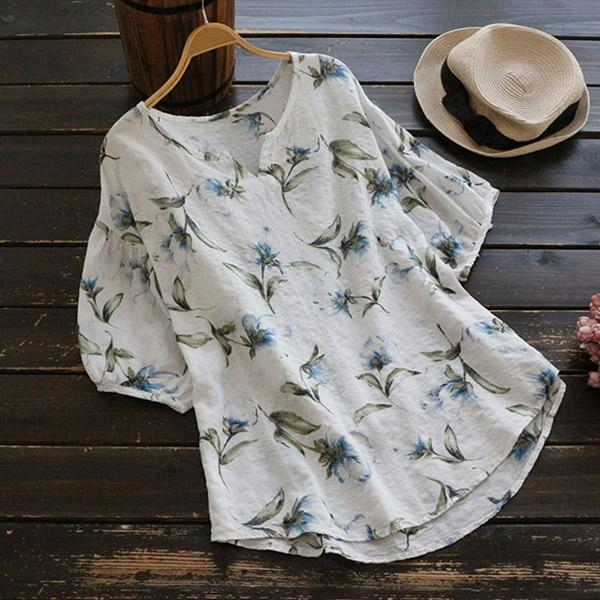 Casual V-neck Floral Print Short Sleeve Loose Blouses