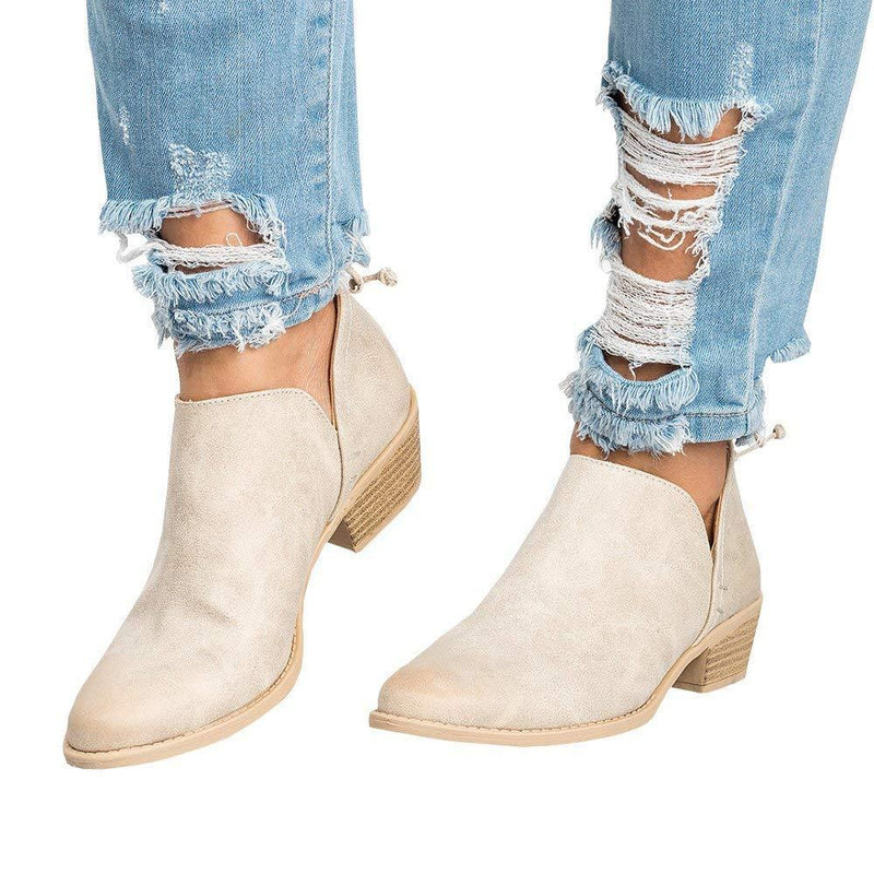 Women Distressed Cutout Stacked Heel Bootie