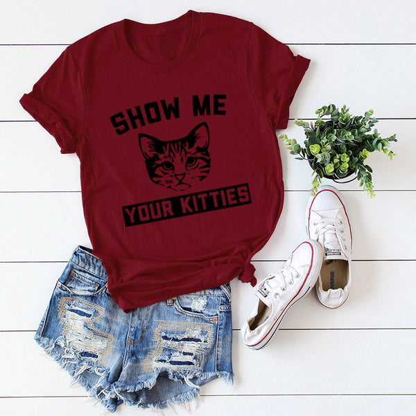 Casual Cat Pattern Letter T-Shirt