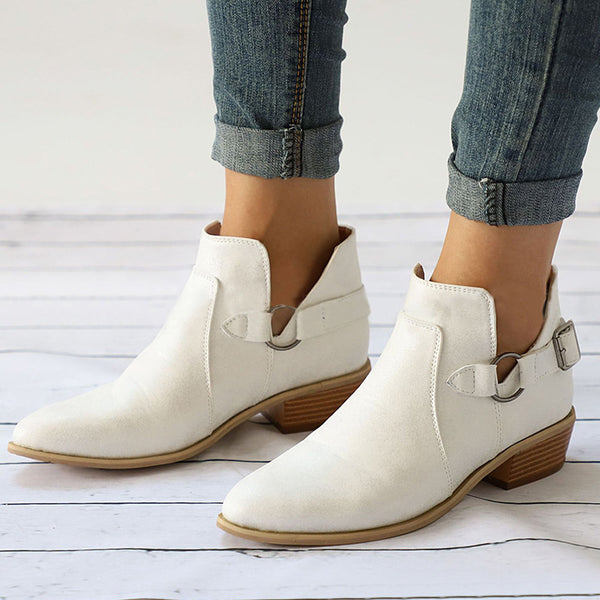 Almond Toe Buckle Decoration Chunky Heel Short Boots