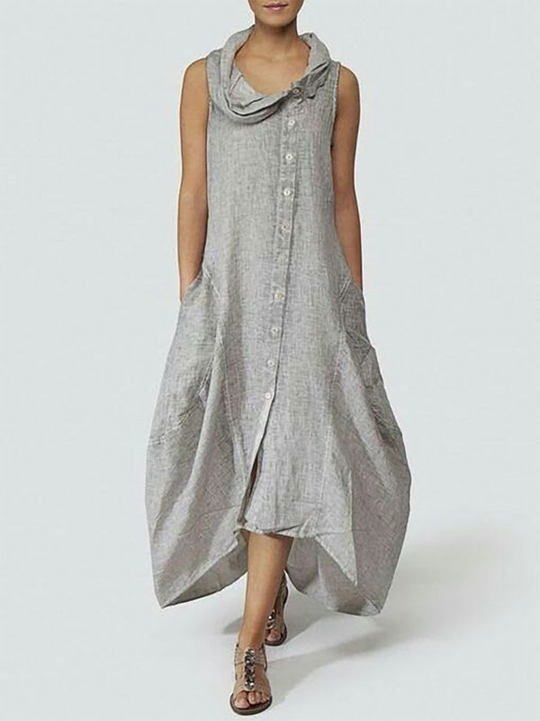 Solid Basic Cocoon Cotton Casual Dress