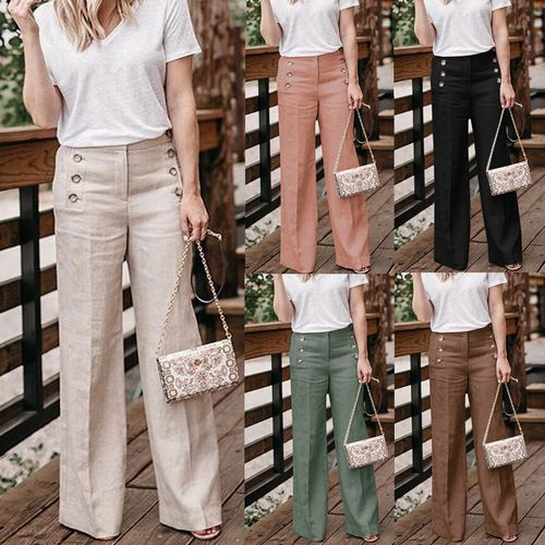 Fashion High Waist Linen Wide Leg Pants
