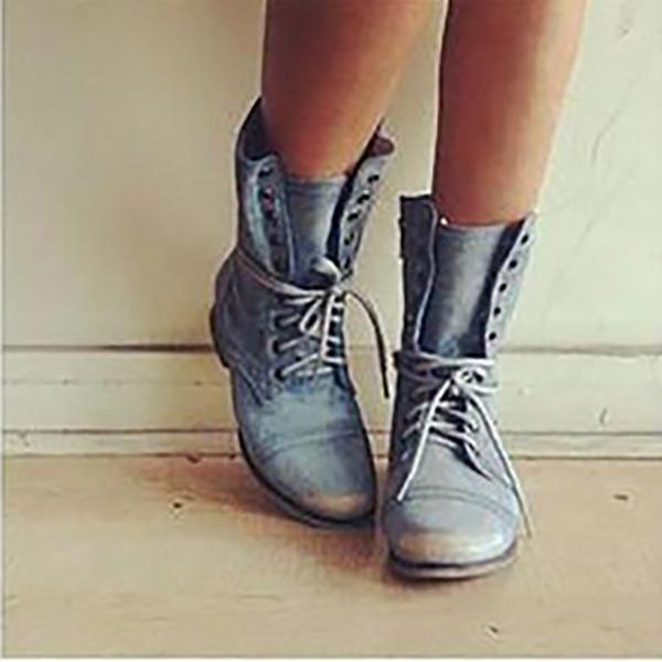 Casual Comfort PU Lace Up Booties