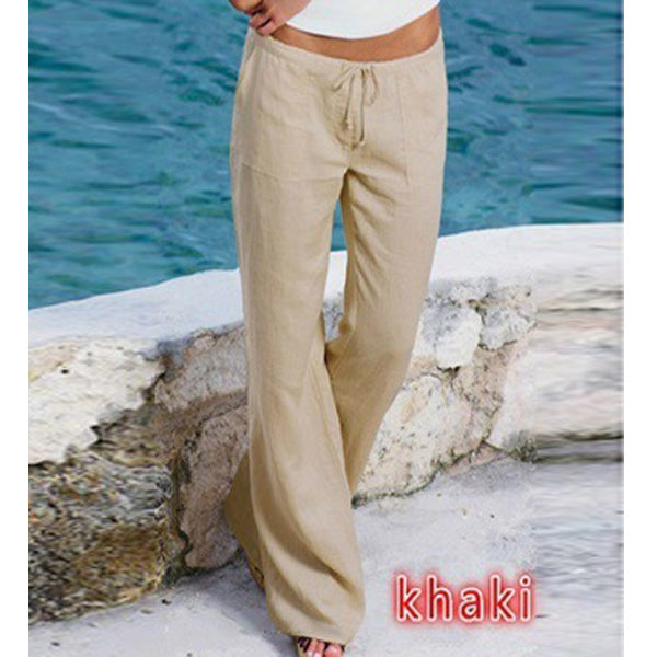 Breathe Freely Casual Beach Long Pants Cotton Linen Elastic Waist Straight Trousers