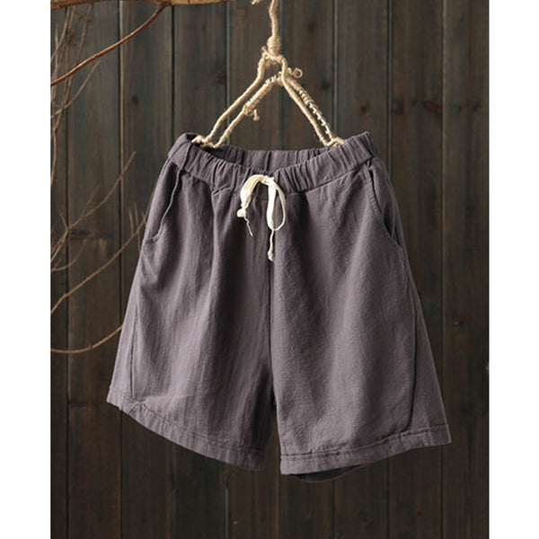 Unisex Pockets Linen Casual Solid Drawcord Plus Size Shorts