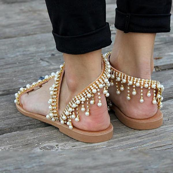 Boho Luxurious Pearl Toe Ring Sandals