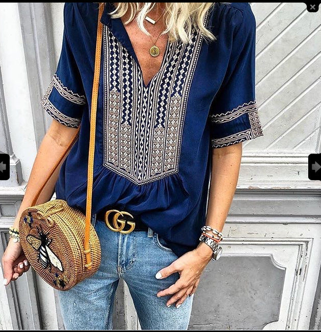 Casual Printed Short Sleeve V neck Tribal Plus Size Blouse