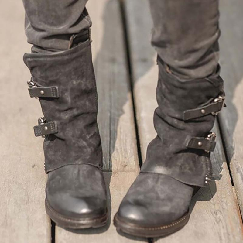 Womens Vintage Buckle Side Zipper Boots