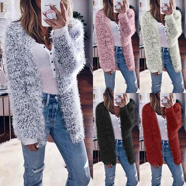 Casual Loose  Solid Color Plush Cardigan with Pocket