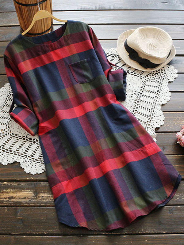Casual Plaid O-Neck Long Sleeve Women Dresses