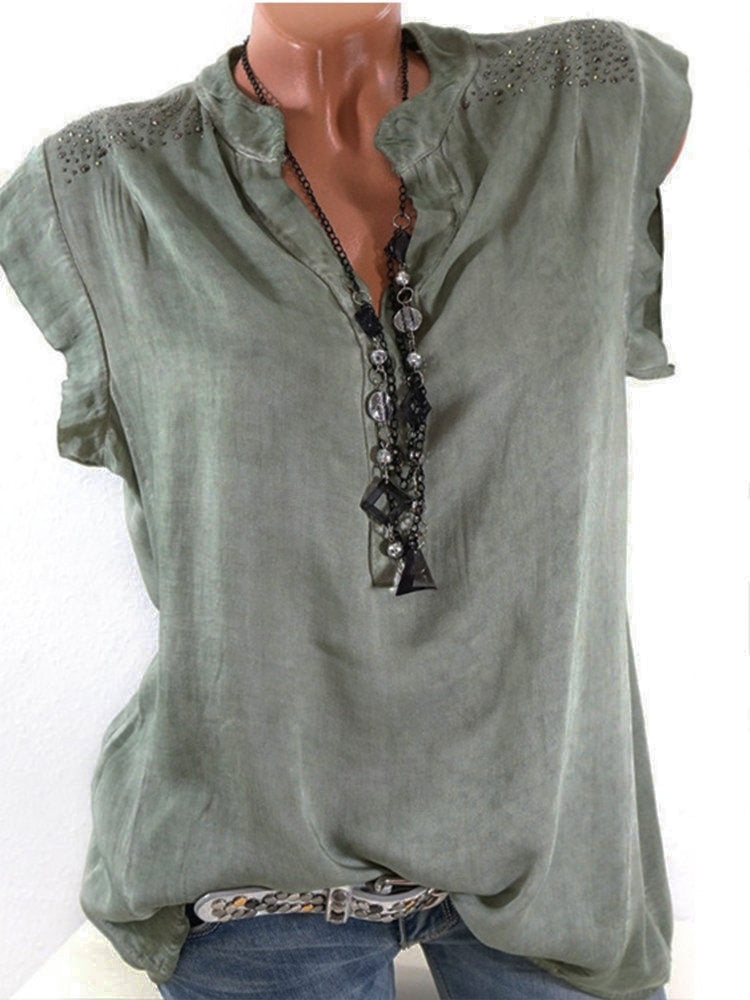 Women Sleeveless Sequins Decorated Casual Shirts