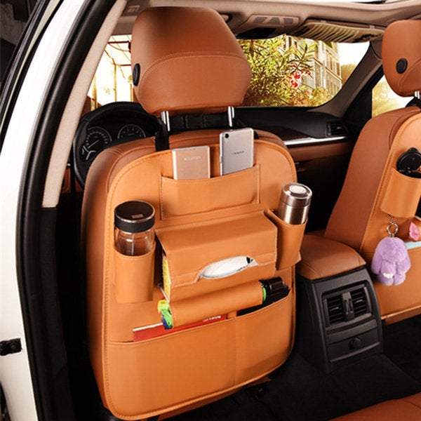 Leather Car Storage Bag Multi Compartment Seat Container Outdoors Hanging