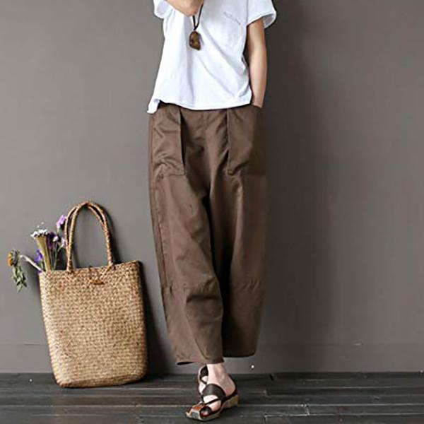 Loose Casual Solid Color Pocket Pants