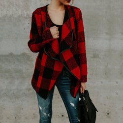 Casual Plaid Lapel Loose Cardigan