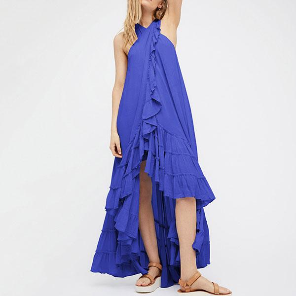Halterneck Ruffle Backless Maxi Beach Dresses