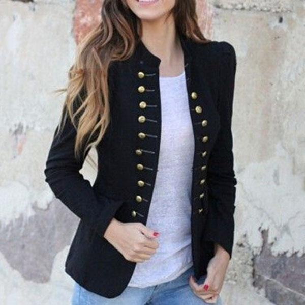 Elegant Vintage Button Solid Color Coats