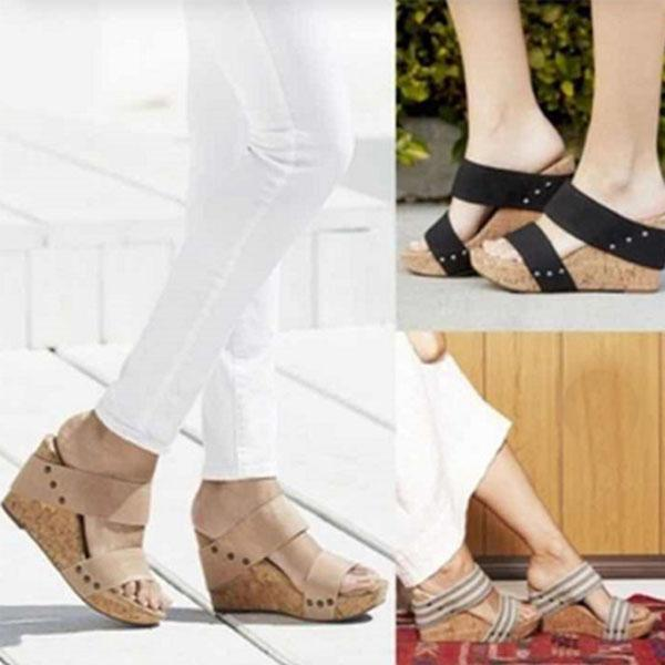 Casual Open Toe Solid Color Wedge Sandals Slippers