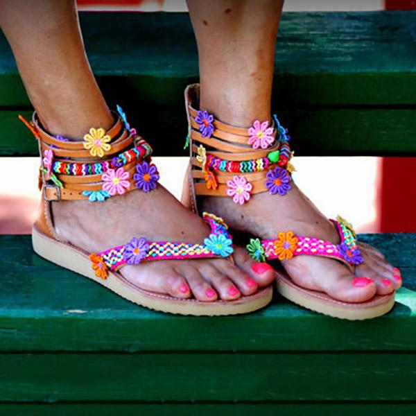 Bohemian Flower Decoration Flat Sandals