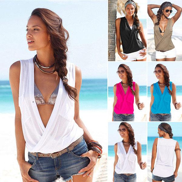 Fashion Asymmetric Hem Plain Blouses
