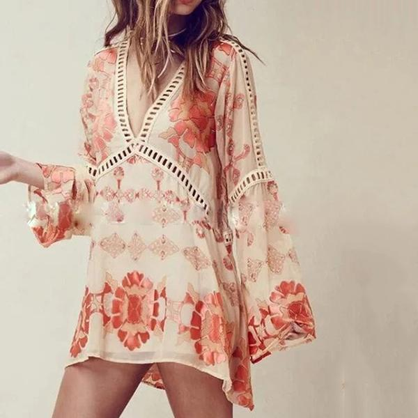 Bohemian Vacation V Neck Dresses