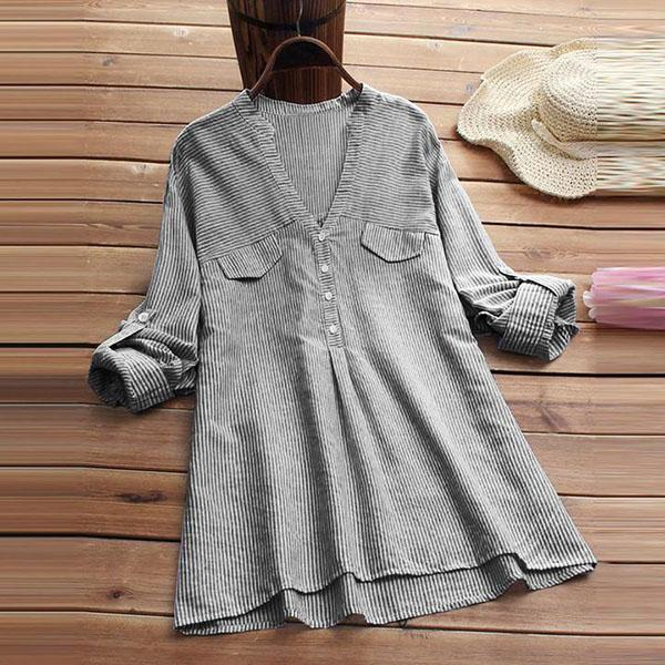 Plus Size Casual Loose Stripe Shirts