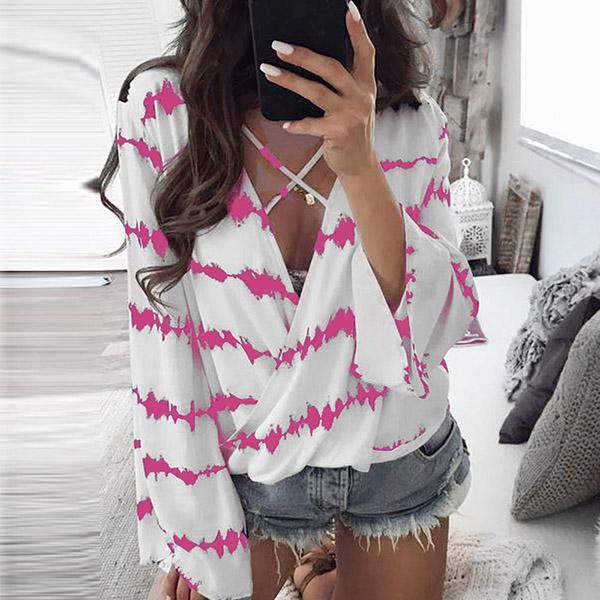 Sexy V Neck Cross Band Blouse
