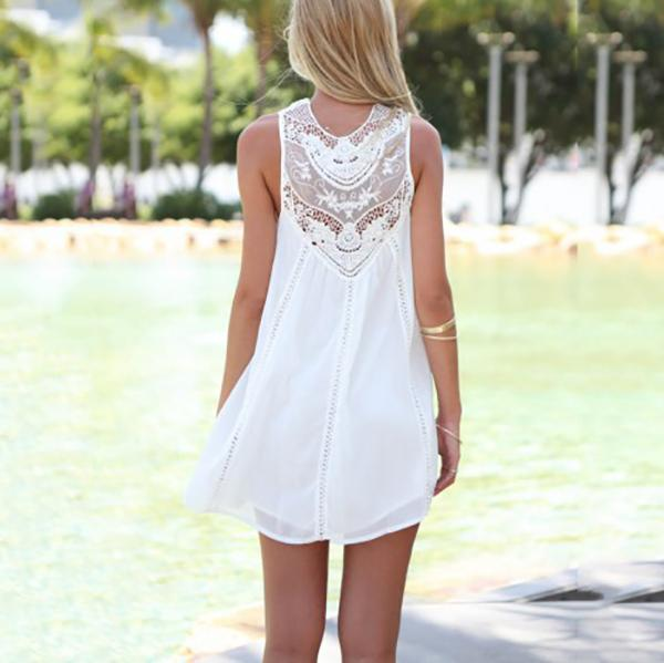 Casual Lace Stitching Mini Dresses