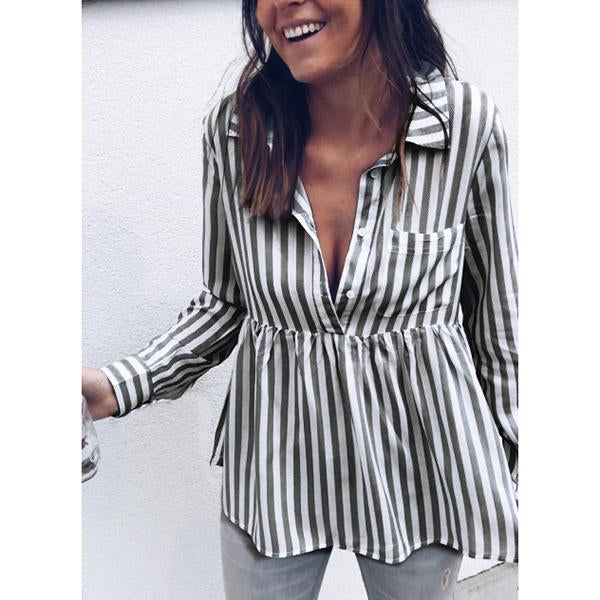 Casual Lapel Stripe Ruffle Side Shirts