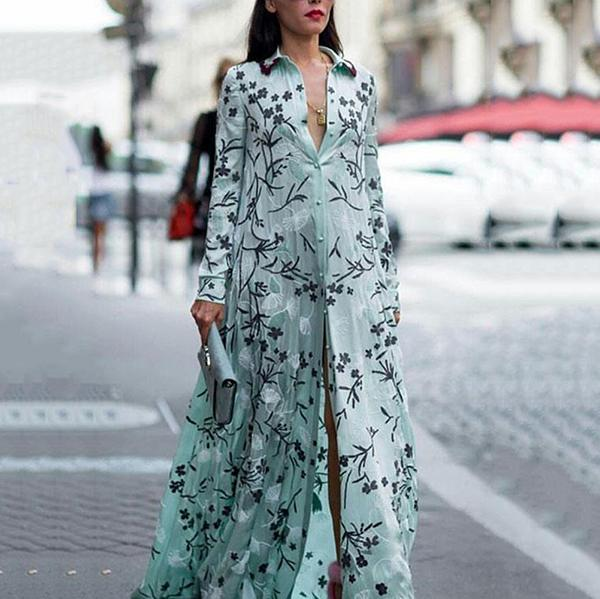 Elegant Printed Vacation Maxi Shirt Dresses