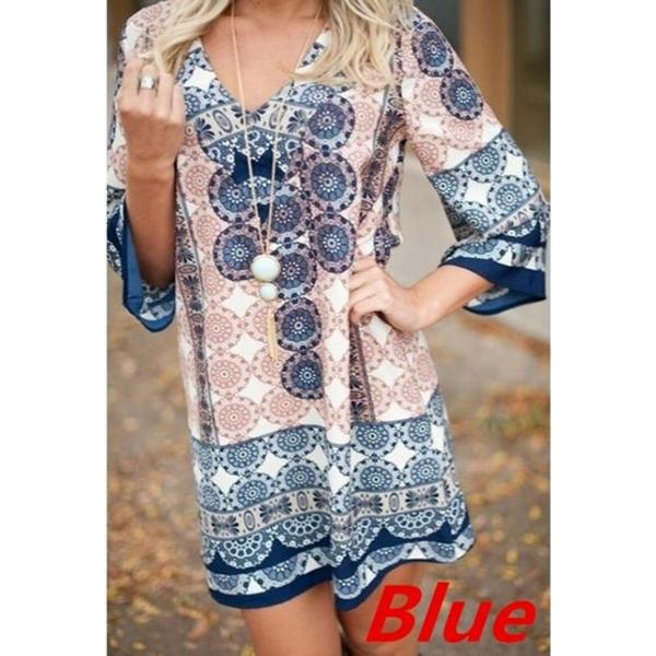 Bohemian 3/4 Sleeve Printed Mini Dresses