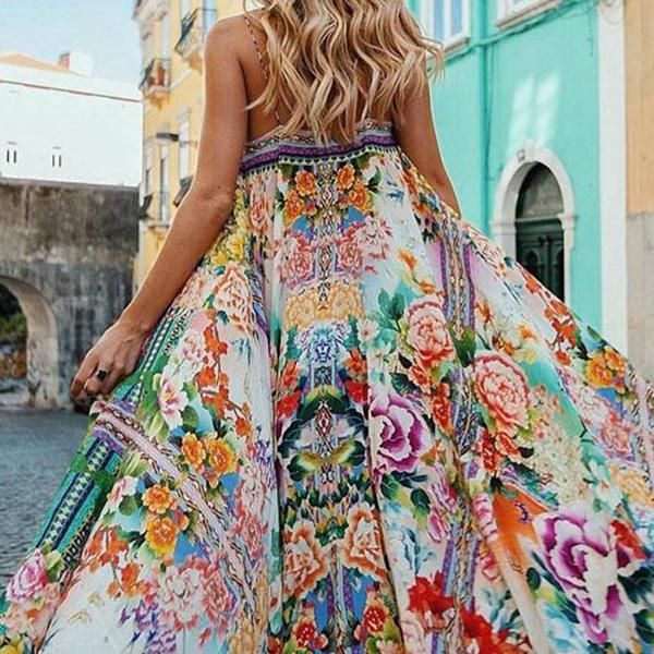 Bohemian Flower Printed Vacation Maxi Dresses