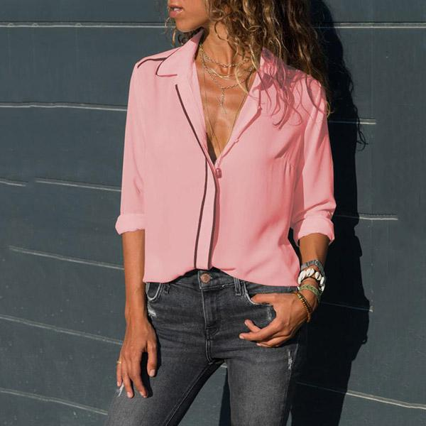 Casual Solid Color V Neck Shirts