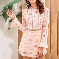 Elegant Turtle Neck Lace Hollow Ruffle Sleeve Dresses
