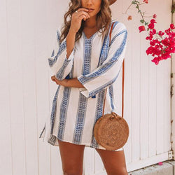 Stripe 3/4 Sleeve Hooded Mini Dresses