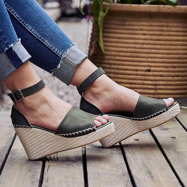Casual Adjustable Buckle Wedge Sandals