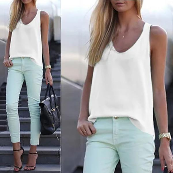 Casual Simple Solid Color Vests