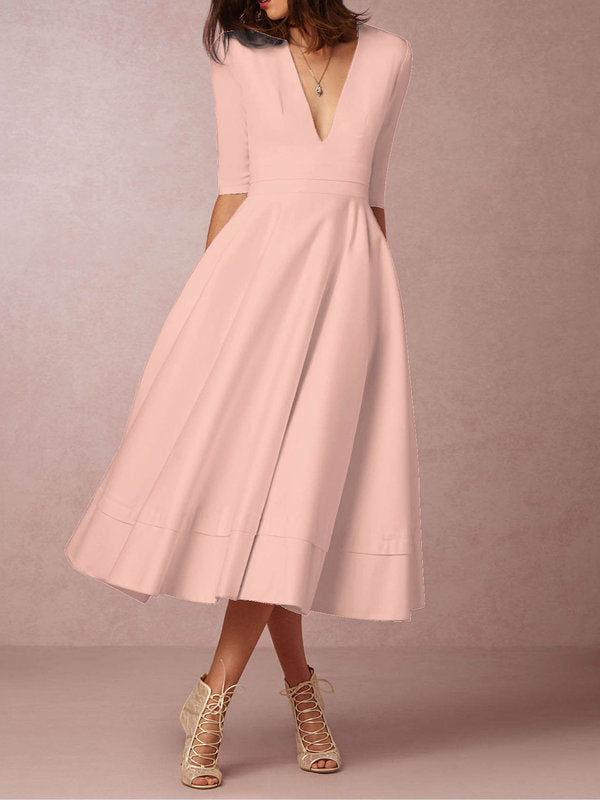 Solid Deep V-Neck 3/4 Sleeve Swing Dress