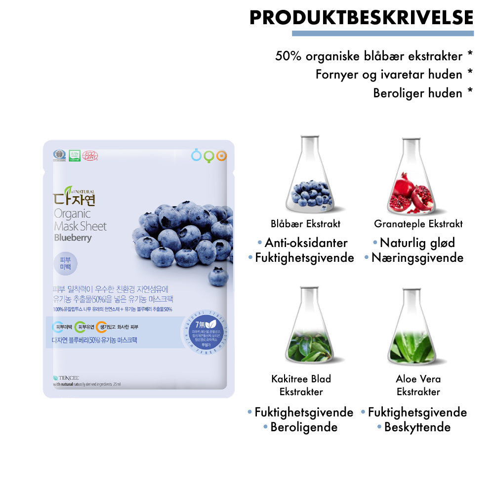 all natural organic blueberry mask sheet koreansk kosmetikk organisk blåbær