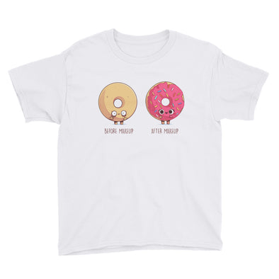 Before After Makeup Donut - Youth Short Sleeve T-Shirt