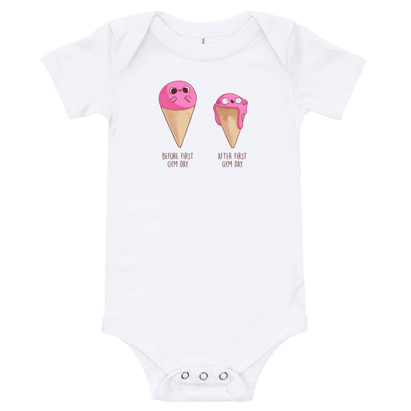 Before After First Gym Day Ice Cream- Baby Bodysuit Short Sleeve
