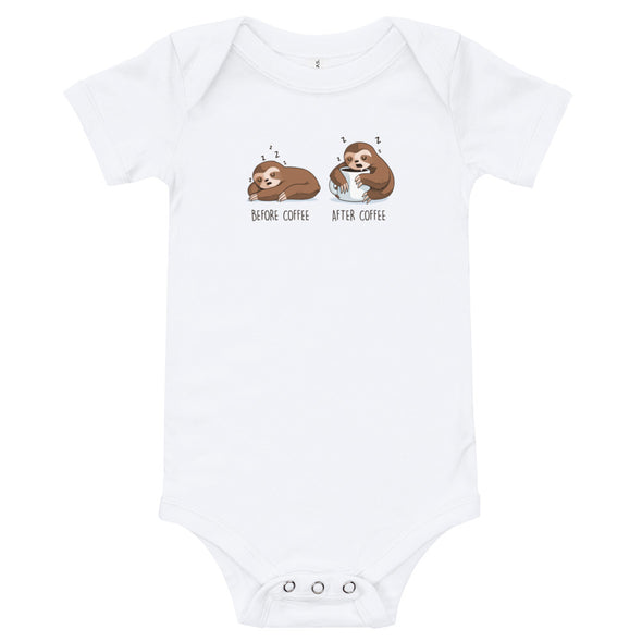 Before After Coffee Sloth - Baby Bodysuit Short Sleeve