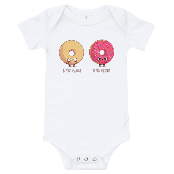 Before After Make Up Donut -  Baby Bodysuit Short Sleeve
