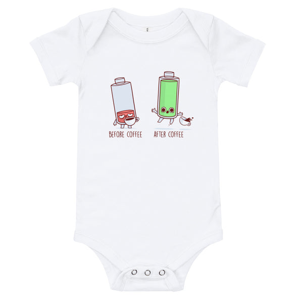 Before After Coffee Battery -  Baby Bodysuit Short Sleeve