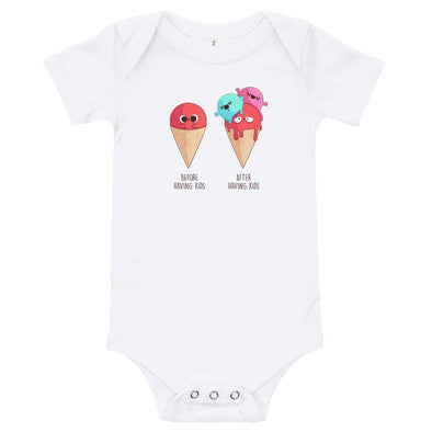 Before After Having Kids - Baby Bodysuit Short Sleeve