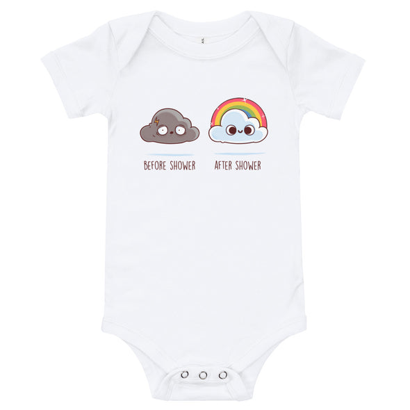 Before After Shower - Baby Bodysuit Short Sleeve