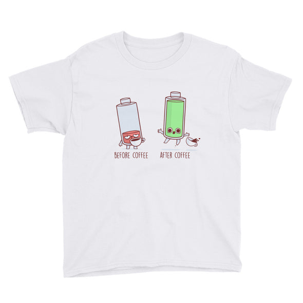Before After Coffee Battery - Youth Short Sleeve T-Shirt